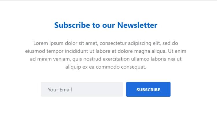 Bootstrap 4 newsletter form