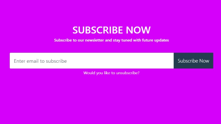 Bootstrap 4 subscribe now form