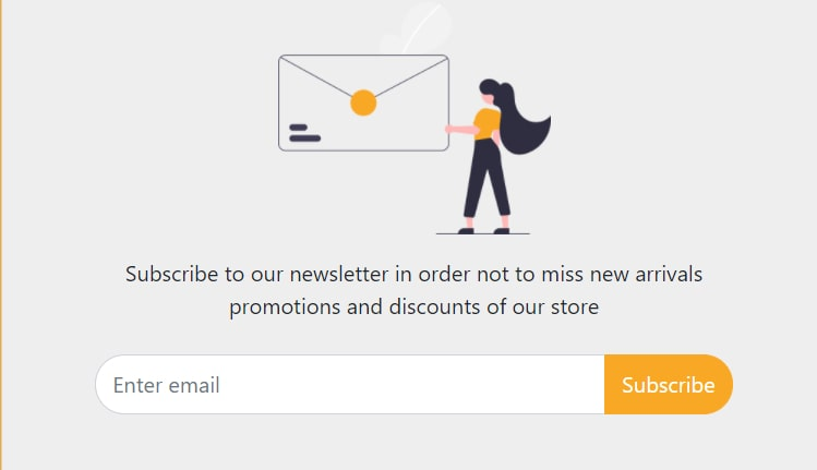 Bootstrap 5 subscribe to our newsletter form